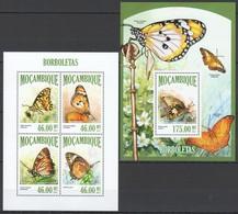 WW110 2013 MOZAMBIQUE MOCAMBIQUE FLORA & FAUNA BUTTERFLIES BORBOLETAS KB+BL MNH - Papillons