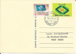 Onu, United Nations, Nations Unies,genève, Entier Postal 1984, Carte Fdc, 0.40 Fs + 0.10,logo Vert, Drapeau, Flag - Office De Genève