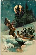 Themes Div-ref Z305- Anges - Heureux Noel - Le Petit Ange Trainant Sa Luge Contenant  Le Sapin De Noel - - Anges
