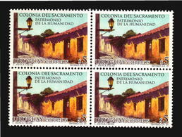 UNESCO HERITAGE COLONIA DEL SACRAMENTO PORTUGUESE TOWN LAMP URUGUAY MNH BLOCK OF 4 CV$10 - Arquitectura