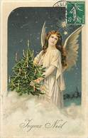 Themes Div-ref Z303- Carte Gaufrée - Anges - Ange De Noel - Carte Bon Etat  - - Anges