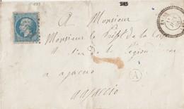 """N°22  /L  (. ) GC 4531 De EVISA / 11.6.1868-> Ajjacio Au Départ De Bte Rurale """" A"""" Au . Verso Passe à VIGO / 11.6)     ( - Marcophilie (Lettres)"""
