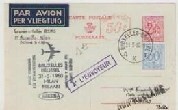 BRUXELLES - MILANO  PAR  AVION  07-04-1960   AVEC  RETOURD - Belgique