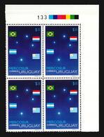 SERIE MERCOSUR ESTRELLAS CRUZ DEL SUR CONSTELACIONES BANDERAS STARS CONSTELLATION SKY URUGUAY MNH BLOCK OF 4 CV$12 - Emisiones Comunes