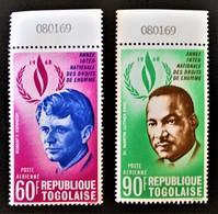 DROITS DE L'HOMME 1969 - NEUFS ** - YT PA 105/06 - MI 689A/90A - HAUTS DE FEUILLES NUMEROTES - Togo (1960-...)