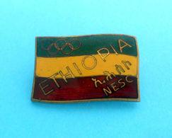 ETHIOPIA NOC - Vintage Enamel Pin Badge From 1950's * Jeux Olympiques Olympia Olympiade Olympiad Olimpiade Olimpiada - Olympic Games