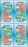Brazil Stamps 2018 Block Of 4 Luxembourg Flag Archictecture Brasilia - Brazil