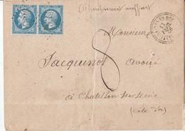 """N°22 En Paire /L  (. ) GC 4536 De VILLAINES EN DUESMOIS  /13.2.66->Chatillon/ Seine + Manuscrit """" AFFRANCHISSEMENT INSUF - Marcophilie (Lettres)"""
