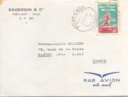 TCHAD ENVELOPPE DU 21 NOVEMBRE 1966 DE FORT LAMY POUR NANTES BAUDUIN & Cie FORT LAMY - Tchad (1960-...)