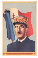 CPSM : Général Charles De Gaulle - Portrait Devant Le Drapeau Français à Croix De Lorraine - Hommes Politiques & Militaires