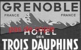Hotel - Des Trois Dauphins - Grenoble - France - 2 Cartes - Etiquettes D'hotels
