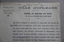 Orléans (Loiret), Extrait Registre Décès Legrand Claude (Alger, Algérie), 2ème Classe 1er R.E.P, 1958 - Historical Documents