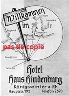 Hotel - Haus Hindenburg - KÖNIGSWINTER - 2 Cartes - Etiquettes D'hotels
