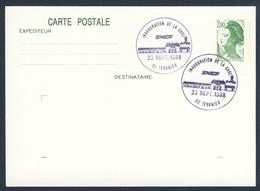France Rep. Française 1988 Card / Karte / Carte Postale - Inaug. Gare SNCF, Tergnier / Railway Station /Bahnhof - Treinen