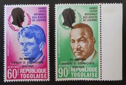 DROITS DE L'HOMME - SURCHARGES NOIRES 1969 - NEUFS ** - YT PA 113/14 - MI 723A/24A - BORDS DE FEUILLES - Togo (1960-...)
