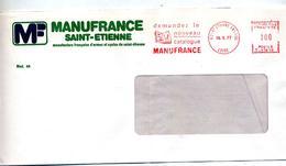 Lettre Flamme Ema Saint Etienne Catalogue Manufrance Entete Concordante - Storia Postale