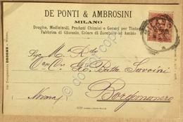 Italia Regno 1899 - Umberto I 10 Centesimi Su Cartolina Da Milano A Borgomanero - Unclassified