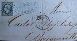 R1703/634 - ✉️ (DEVANT DE LETTRE) - LN N°10 - PC 441: BORDEAUX / CàD Du 15 AVRIL 1853 > BACQUEVILLE - Cote : 80 € - 1852 Louis-Napoléon