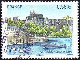 Oblitération Cachet à Date Sur Timbre De France N° 4543 - Site - Angers - Cathédrale - Fleuve La Loire - Eau - France