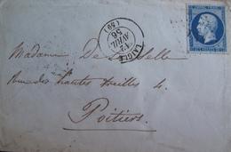 R1703/635 - ✉️ (LSC) - NAPOLEON III N°14Aa Bleu Très Foncé - CàD De LAIGLE Du 12 AVRIL 1866 - LAIGLE à POITIERS - 1853-1860 Napoléon III