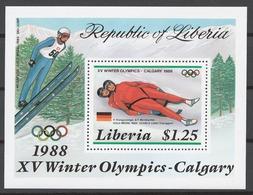 Liberia 1987 Mi# 1355-59+ Bl.112** OLYMPIC GAMES CALGARY 1988 - Liberia