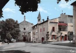 BARJAC - L'Esplanade, La Fontaine Et Entrée De L'Eglise - France
