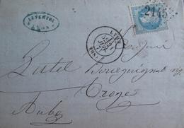 R1703/636 - ✉️ (LAC) - NAPOLEON III Lauré N°29A - GC 2145 : LYON - LYON à TROYES (Aube) - 1863-1870 Napoleon III With Laurels