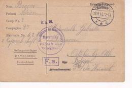 Prisonniers à Havelberg  19 15 1916  Vers Ostiches Lez Ath - Prisoners