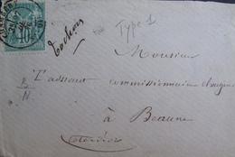R1703/638 - ✉️ (DEVANT DE LETTRE) - SAGE TYPE I N°65 - CàD De CHAMBERY (Savoie) 27 DEC 1876 - CHAMBERY à BEAUNE - 1876-1878 Sage (Type I)