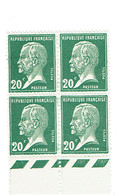 172 Pasteur 20 C. Vert Bloc De 4 Bas De Feuille Luxe - Frankreich