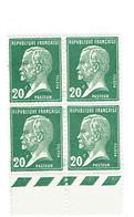172 Pasteur 20 C. Vert Bloc De 4 Bas De Feuille Luxe - France