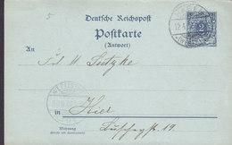 Germany Reichspost Postal Stationery Ganzsache 2 Pf. Antwort Résponse HAGEN (Westf.) 1902 Locally Sent (2 Scans) - Deutschland