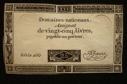 Superbe Assignat 25 Livre Série 2657 Loi Du 6 Juin 1793 - Assignats & Mandats Territoriaux