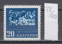 49K78 / 1954 Bulgaria 1969 Michel Nr. 1902 -  Aufstandskämpfe Strike Grève , 90th Anniv Of Bulgarian Postal Services - Other
