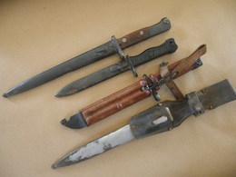 Lot De 3 Baïonnettes + 1 Fourreau Allemand WWII - Knives/Swords
