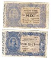 10 LIRE VITTORIO EM. III° 1911 R3 MB/BB / 1915 RARA BB+  LOTTO 1348 - [ 1] …-1946 : Regno