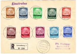 1941 Zwei R-Briefe Nach Luxemburg Nach Berlin Mit Deutscher Überdrucksausgaben Serie; 3-100 Pfennig 16 Marken - Besetzungen