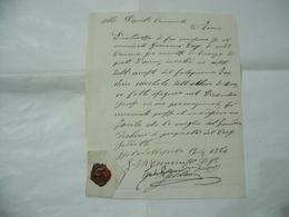 SIGILLO CON CERALACCA DOCUMENTO MANOSCRITTO LICENZA ZEVIO VERONA 1864 - Manoscritti