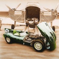 Jaguar Type D -  Le Mans 1955 -  Pilotes: Mike Hawthorn/Ivor Bueb  -  Tableau De Francois Bruere - Le Mans