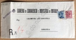 Italia Regno 1920 Michetti 25c E Leoni 10c Su Documento Camera Commercio Novara - Unclassified