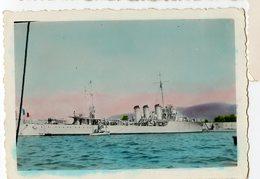 Bateau Boat Paquebot Cheminée Navire Guerre ? à Situer Identifier Colorisé Hand Tinted 30s 40s France Pavillon - Boten