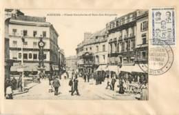 "C P SUR ENVELOPPE-cachet EXPOSITION PHILATHELIQUE""-AMIENS Place Gambetta -TIMBRE HEROS DE LA RESISTANCE 18/05/1959 - Marcofilia (Sellos Separados)"