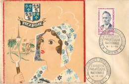 """AMIENS - MORCEAU C.P. DE """"PICARDIE LA RUE AU LIN"""" COLLEE - EXPOSITION PHILATHELIQUE - TIMBRE G. MOUTARDIER - 18/05/1959 - 1921-1960: Periodo Moderno"""