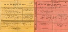 ORDRE DE TRANSPORT CHEMIN DE FER - 1916 - 2 Volets - 1914-18