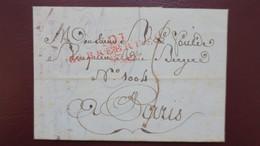 Lettre Marque Postale 101 Sarrebruck Départements Conquis AN 12 Avec Texte Pour Paris - Postmark Collection (Covers)