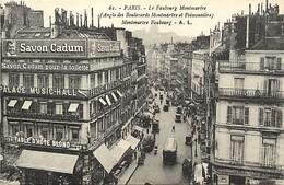 - Paris -ref-B975- Angle Montmartre Et Poissonniere - Magasins Chaussures Raoul - Publicites Palace Music Hall - - Arrondissement: 18