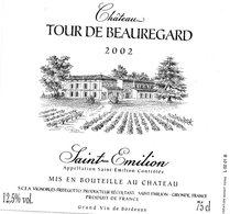Etiquette (10X9,5) Château TOUR DE BEAUREGARD 2002  Saint Emilion  SCEA Vignobles Fritegotto à St Emilion 33 - Bordeaux
