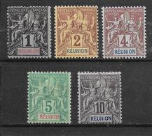 REUNION - N° 32-33-34-35-36 NEUF * - COTE = 27.00 € - Reunion Island (1852-1975)