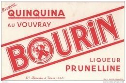 BUVARD - Quinquina Au VOUVRAY BOURIN Liqueur Prunelline - Bourin Fab. à TOURS - Buvards, Protège-cahiers Illustrés