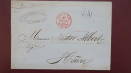Lettre De L'Ile Bourbon 1844 Reunion Pour Le Havre PP Dans Un Cercle Et Cachet Rouge Outremer Le Havre - Postmark Collection (Covers)